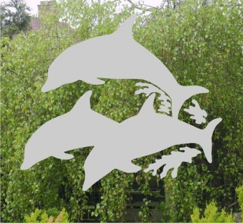 Etched Glass Effect Dolphins sticker